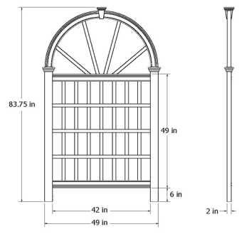 Vienna Trellis wireframe dimensions