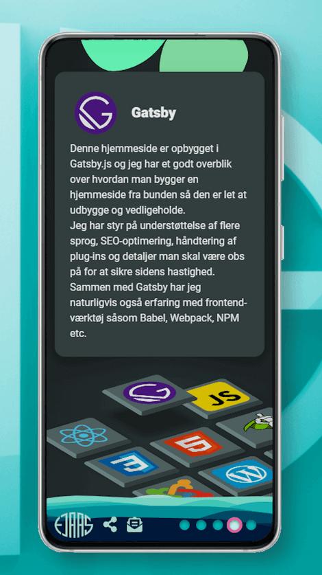 Skærmbillede af larsejaas.com kompetenceside på en smartphone