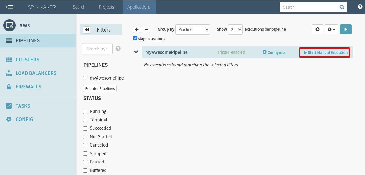 Highlighting the Start Manual Execution option
