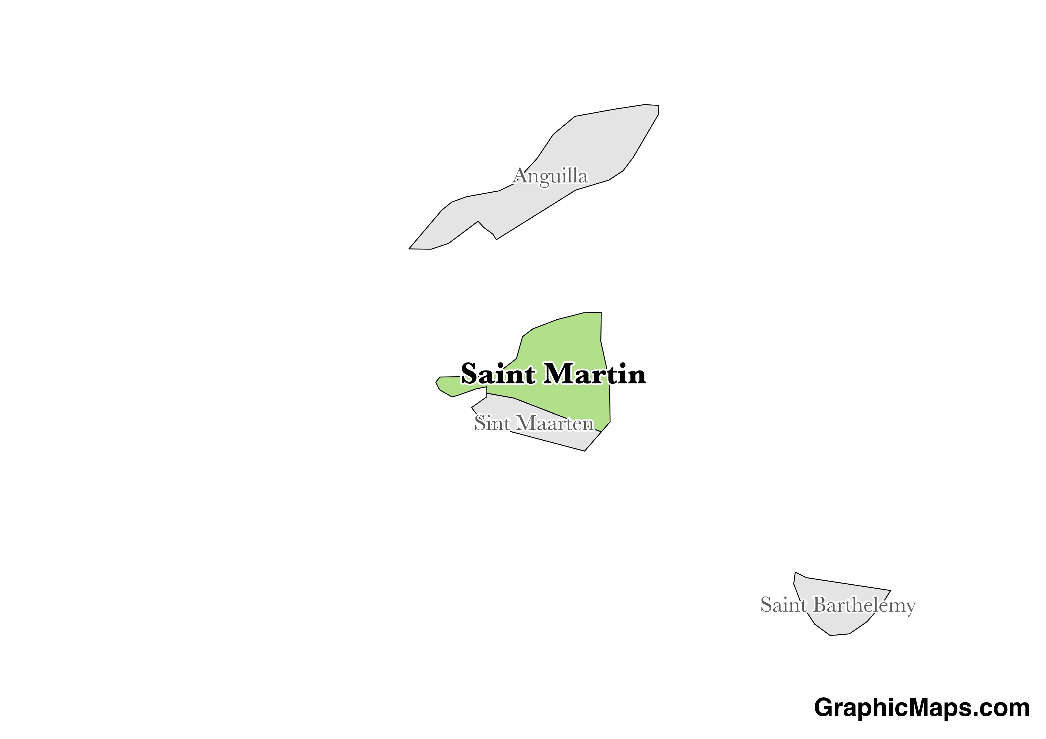 Map showing the location of Saint Martin