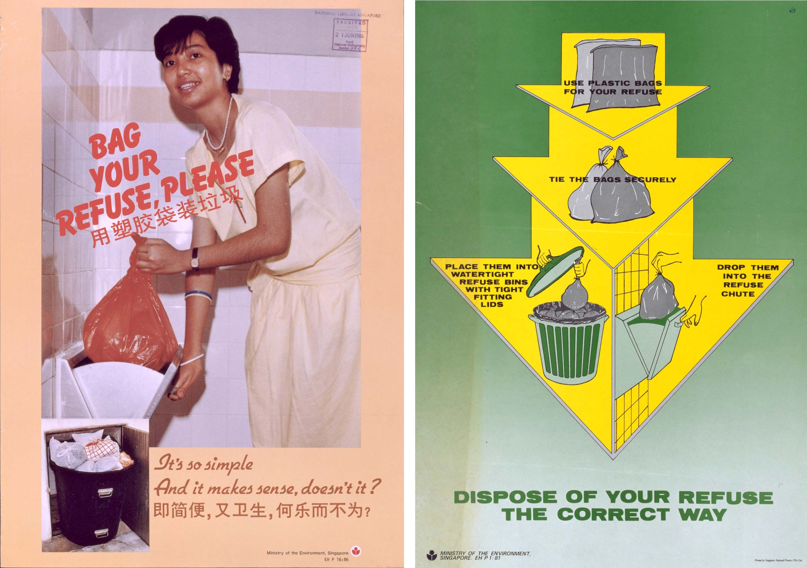 Posters from the educational programme run by the Ministry of Environment to encourage residents to bag their waste