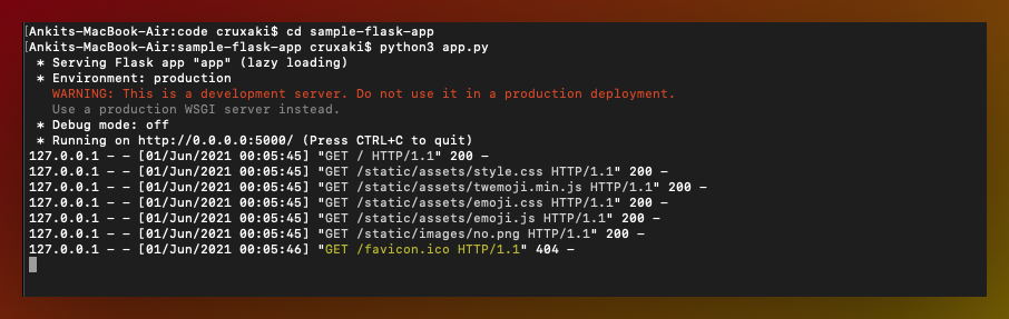 mac terminal running Python apps