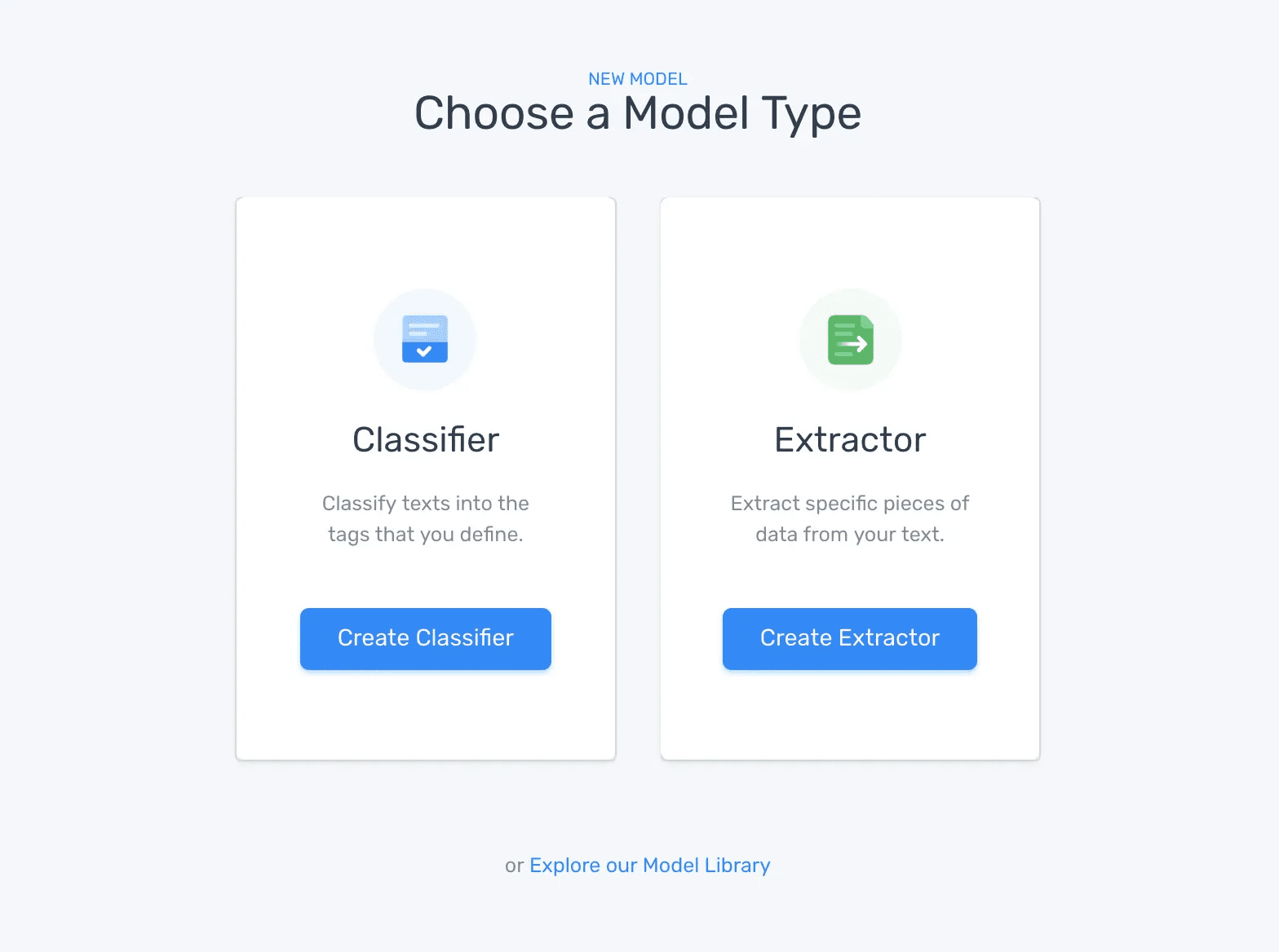 MonkeyLearn's creation wizard, with the option to choose a classifier or extractor.