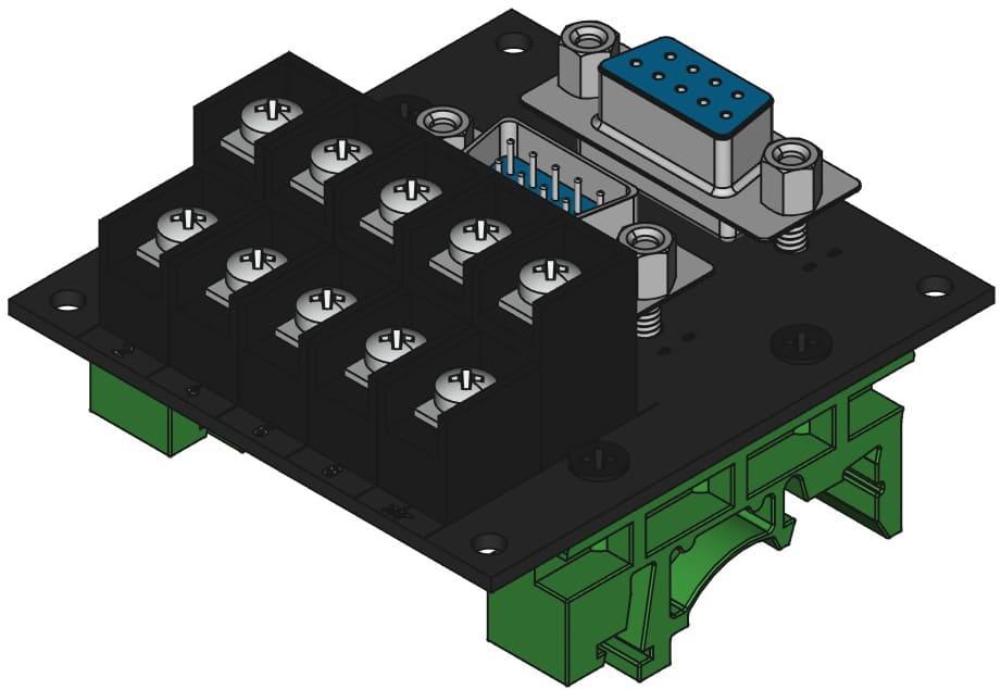 DE9MF-TB2X5をDINレール取付けする際の組立完成図