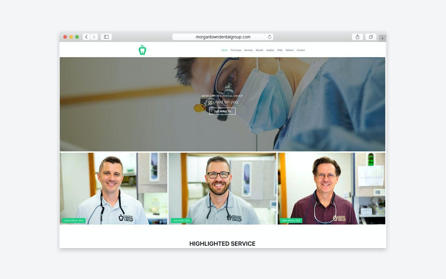 Morgantown Dental Group website - desktop view