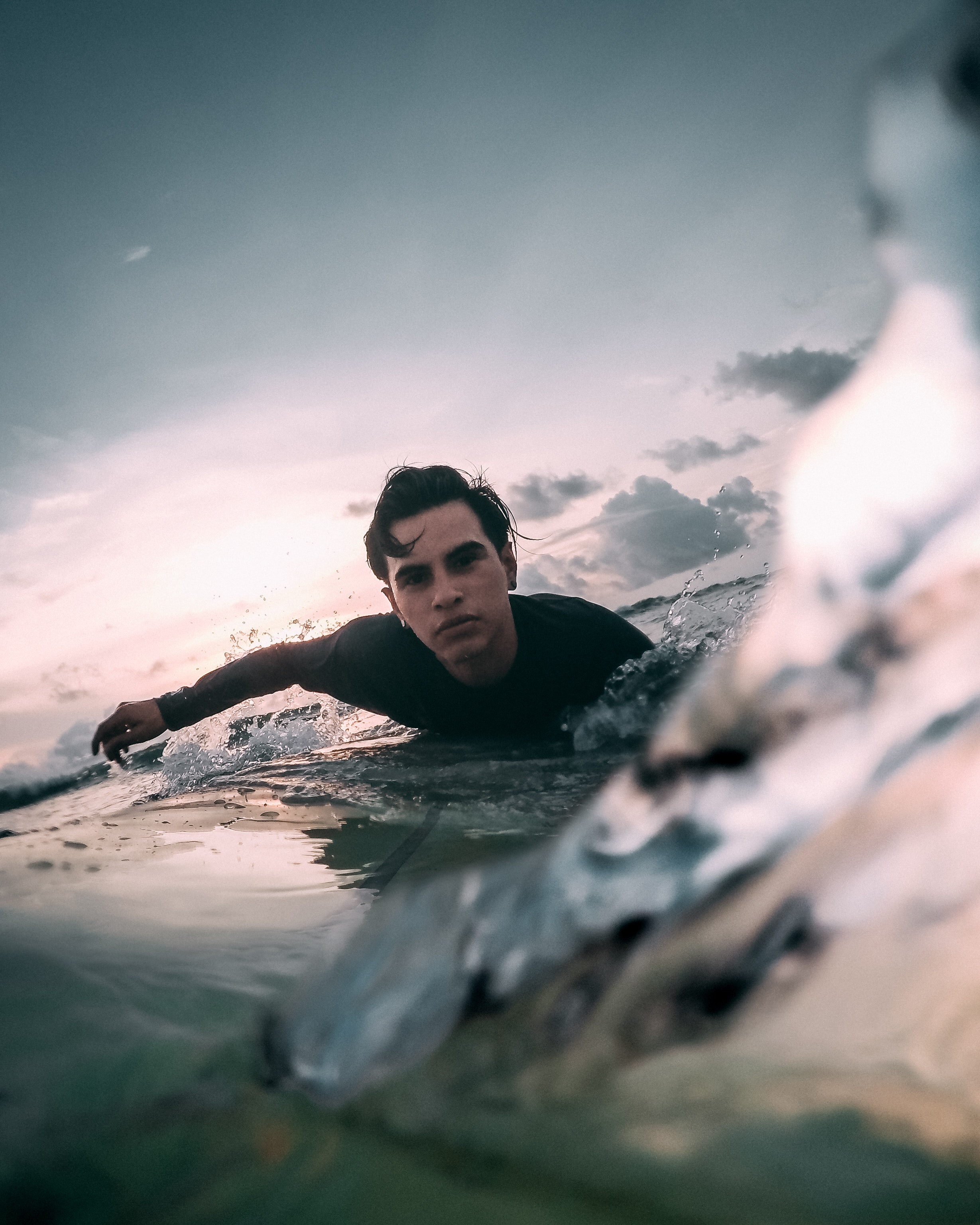 paddling for a wave