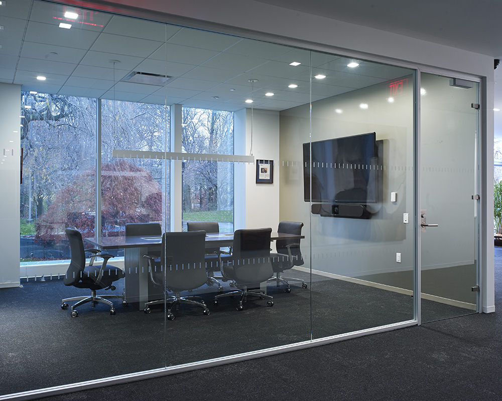 Office With Swinging Glass Door and Walls