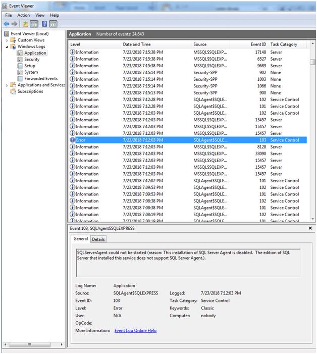 Screenshot of Event Viewer window with an error log level event shown