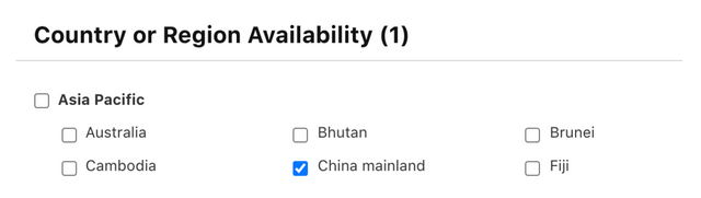 App Store distribution settings