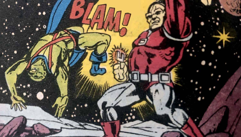 Caçador de Marte (Ajax) e Mongul se enfrentam em A Chave do Holocausto, primeira aparição de Mongul em 1980