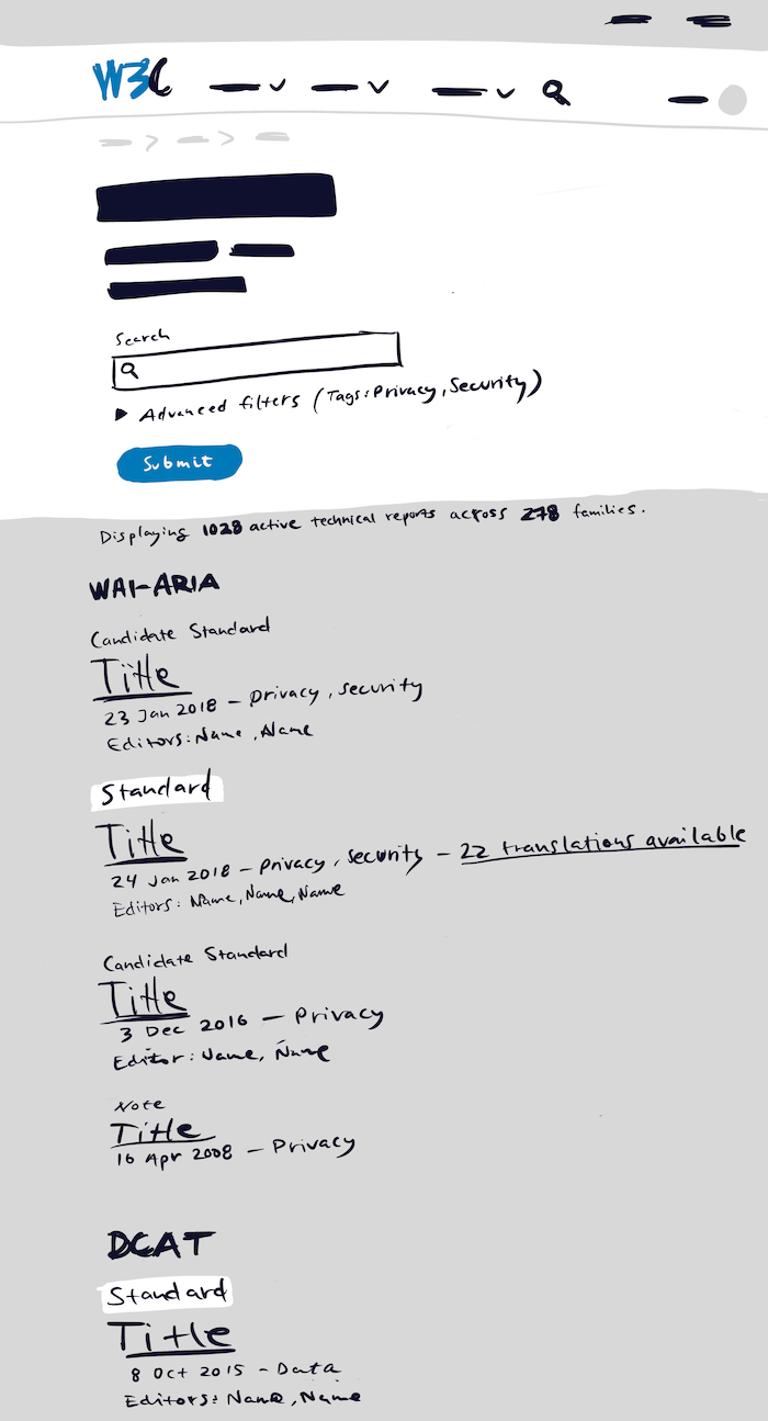 Content wireframe of TR Wireframe Search Results page