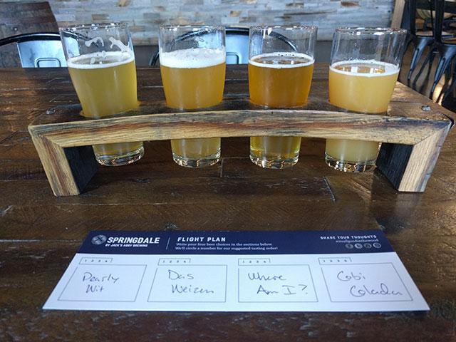 A flight of beer at the Springdale Barrel Room