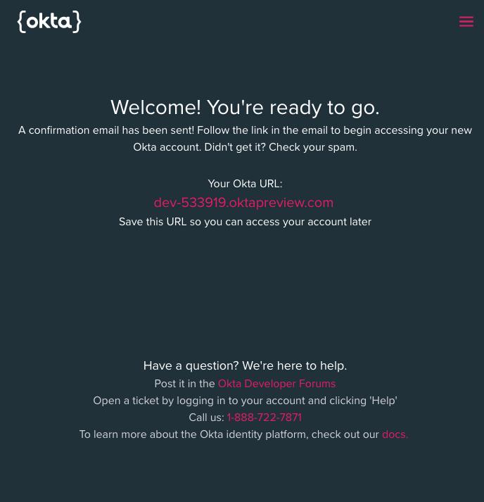 Okta organization created