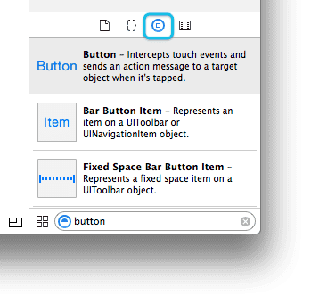 Xcode 6 - Object Library search for button