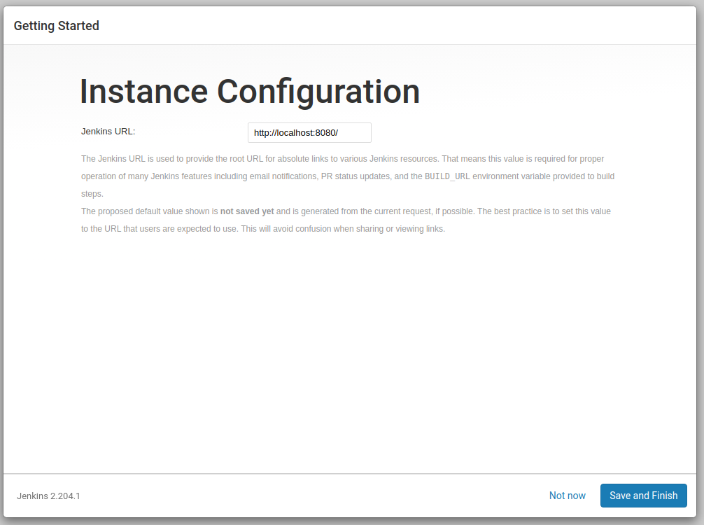 Screenshot of Jenkins URL configuration screen
