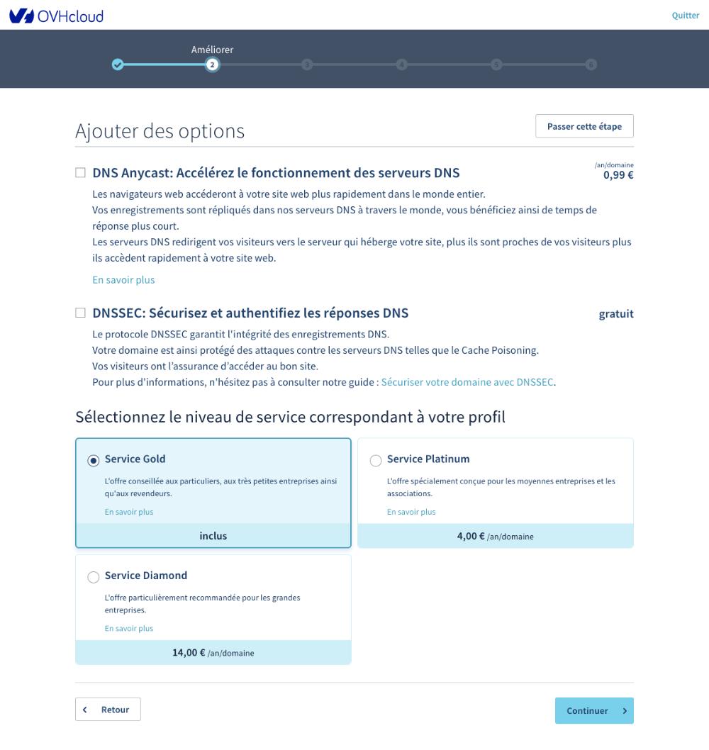 OVH vous propose d'autres produits lorsque vous achetez un nom de domaine