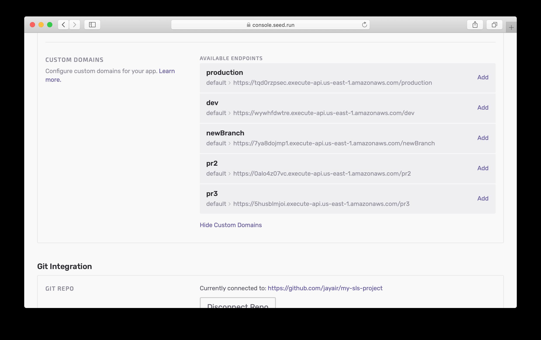 Custom domains settings
