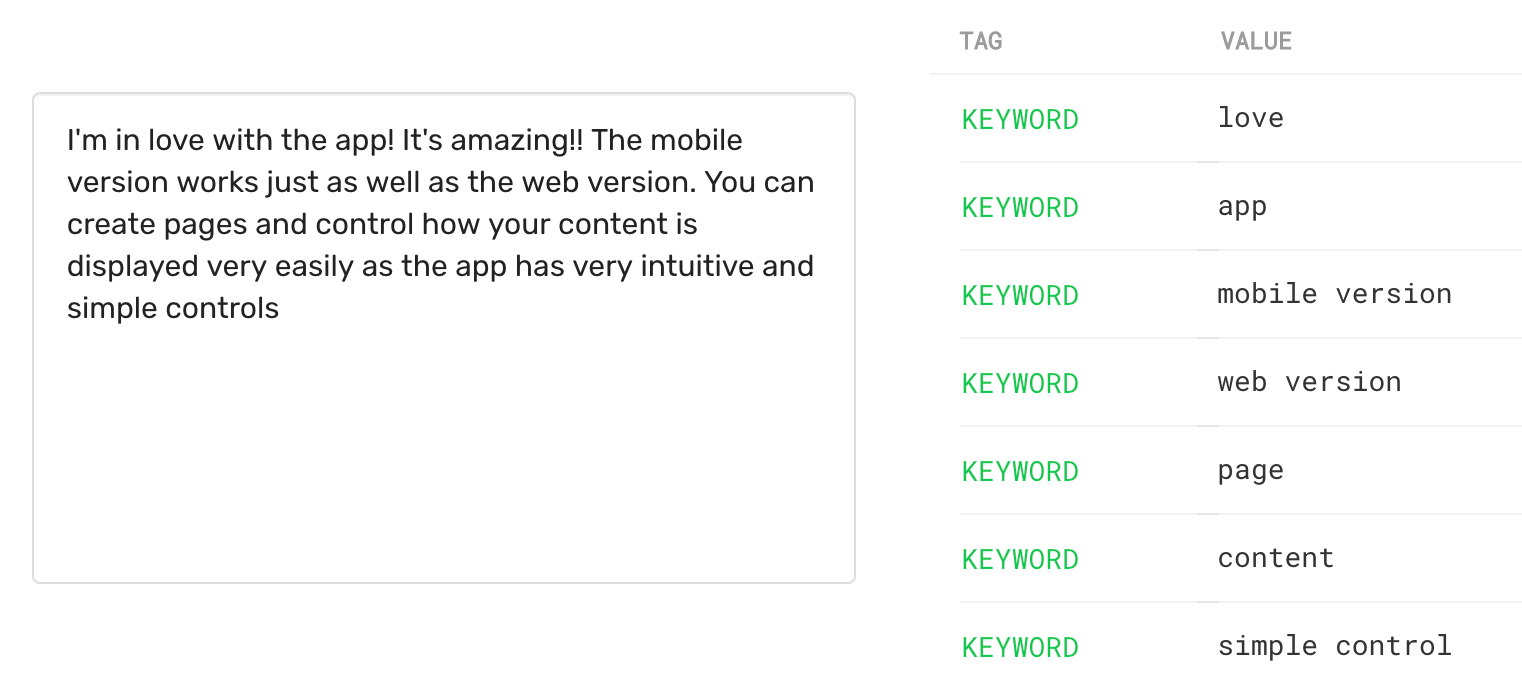 Keyword extraction from a product review