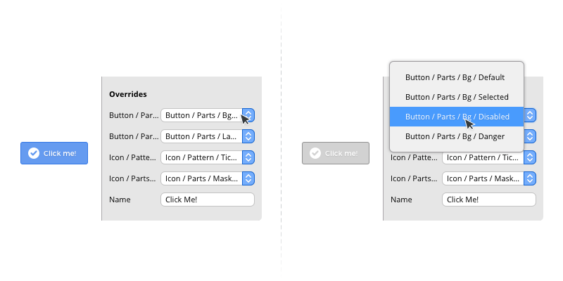 Using symbol overrides to change the appearance of the button pattern