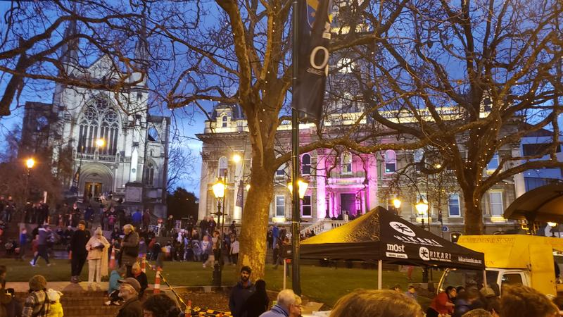 The Octagon all lit up for the Midwinter Festival