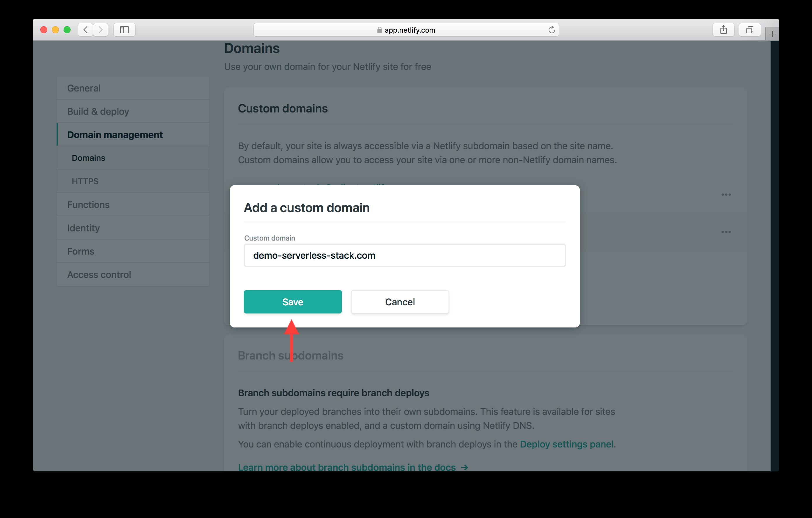 Enter custom domain screenshot