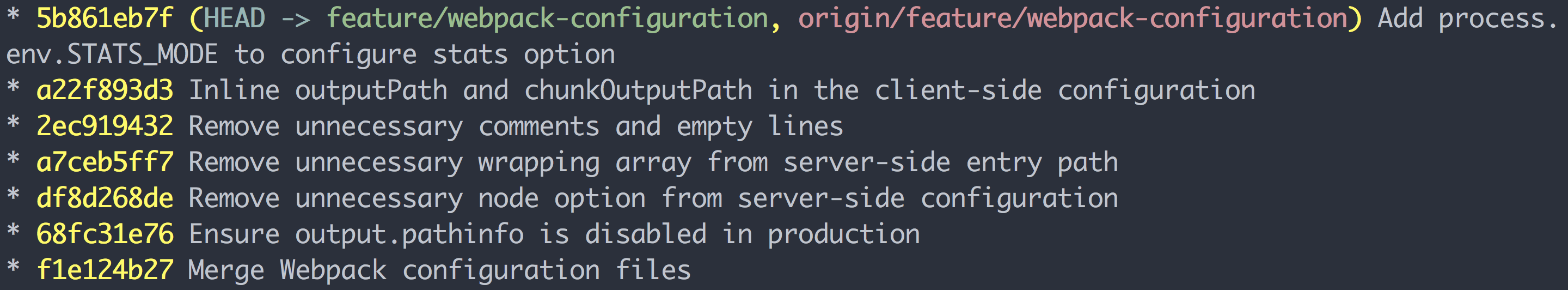 Example output of my `git lg` alias