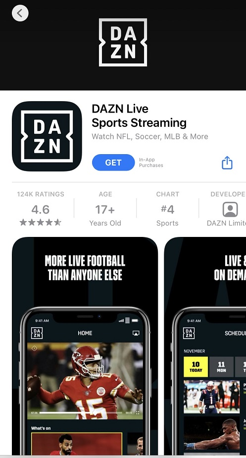 DAZN Live Sports Streaming mobile app iOs download.