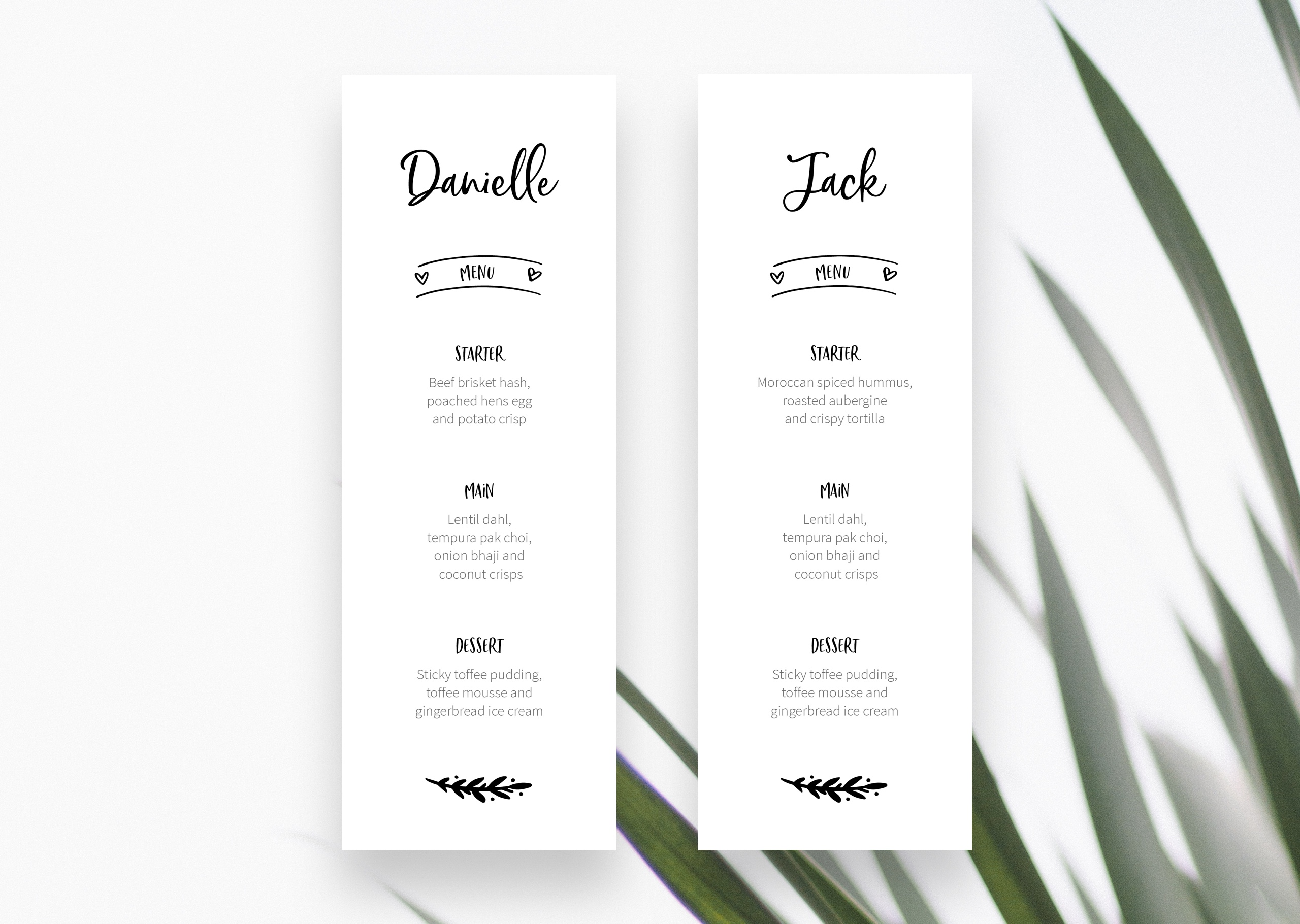 Bespoke wedding menu and place name designs for Shannon and Elliot