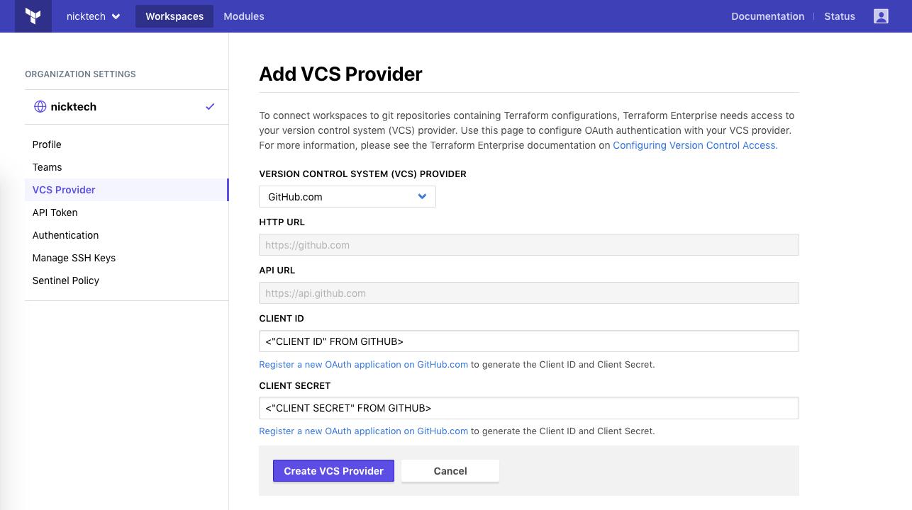 Terraform Cloud screenshot: add client fields