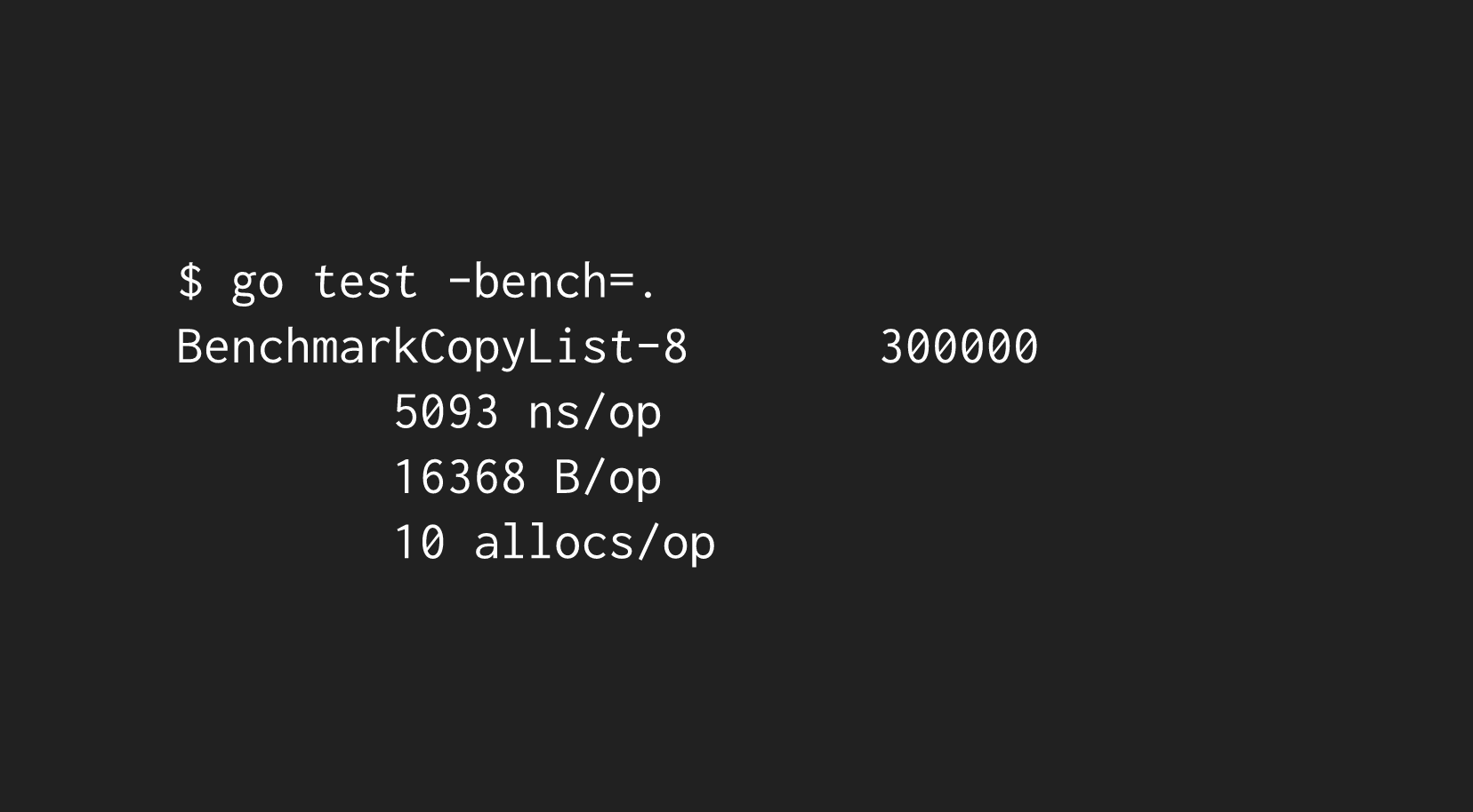 Example Benchmark Output