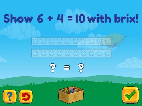 Basic addition up to 10 using brix Math Game