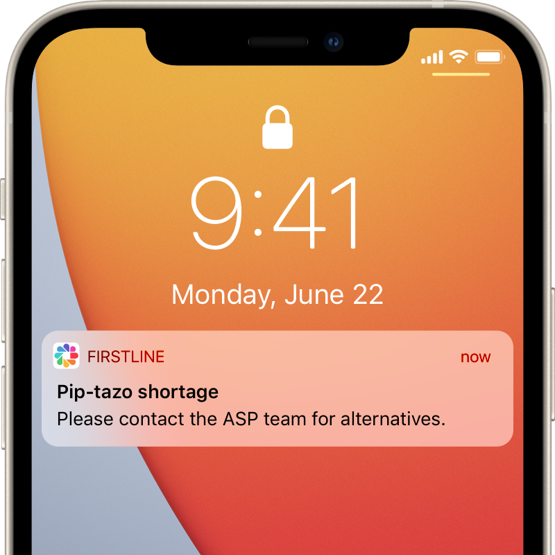 iPhone   displaying Firstline mobile app