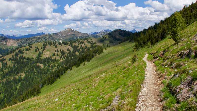 Trail on ridge slope