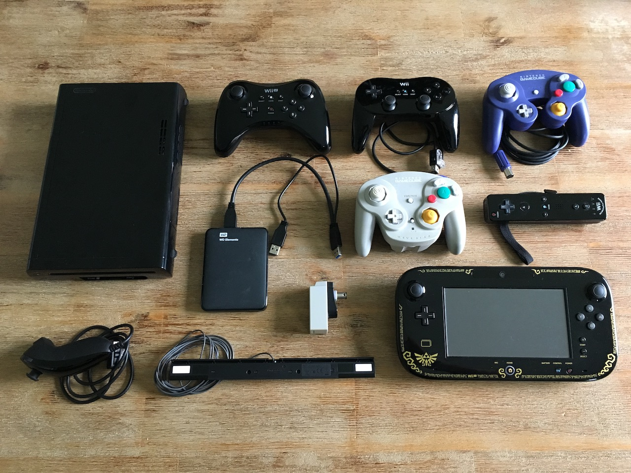 A Wii U console with all its controllers and peripherals