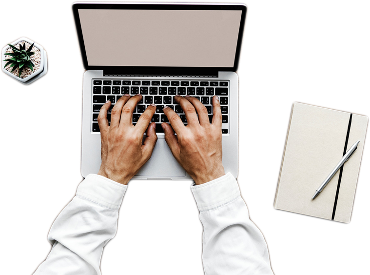 image of hands using a computer