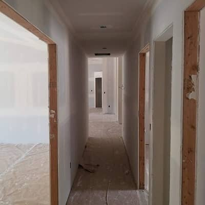 newly installed and finished drywall installation befre painting is applied