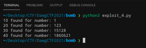 Command line output of 10, 20, 30, 40