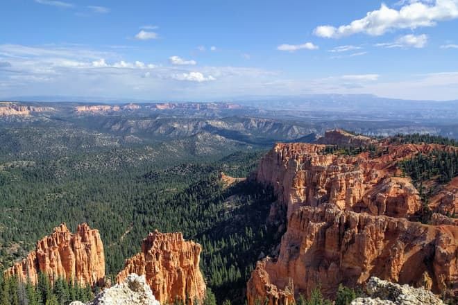 The South Wall of Bryce Canyon. Red and white pillars of soft rock cluster together, eventually becoming the rim of the Canyon. The pillars stop abruptly, and are immediately replaced by a pine forest.