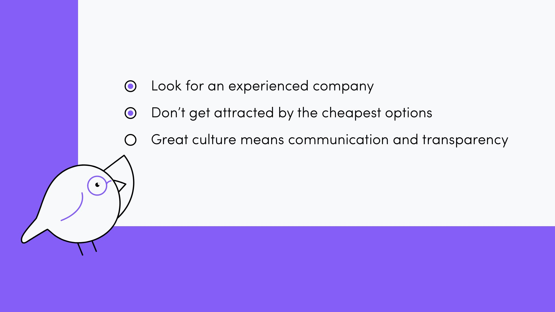 criteria for choosing a software house: look for an experienced company, don't get attracted by the cheapest options, great culture means communication and transparency