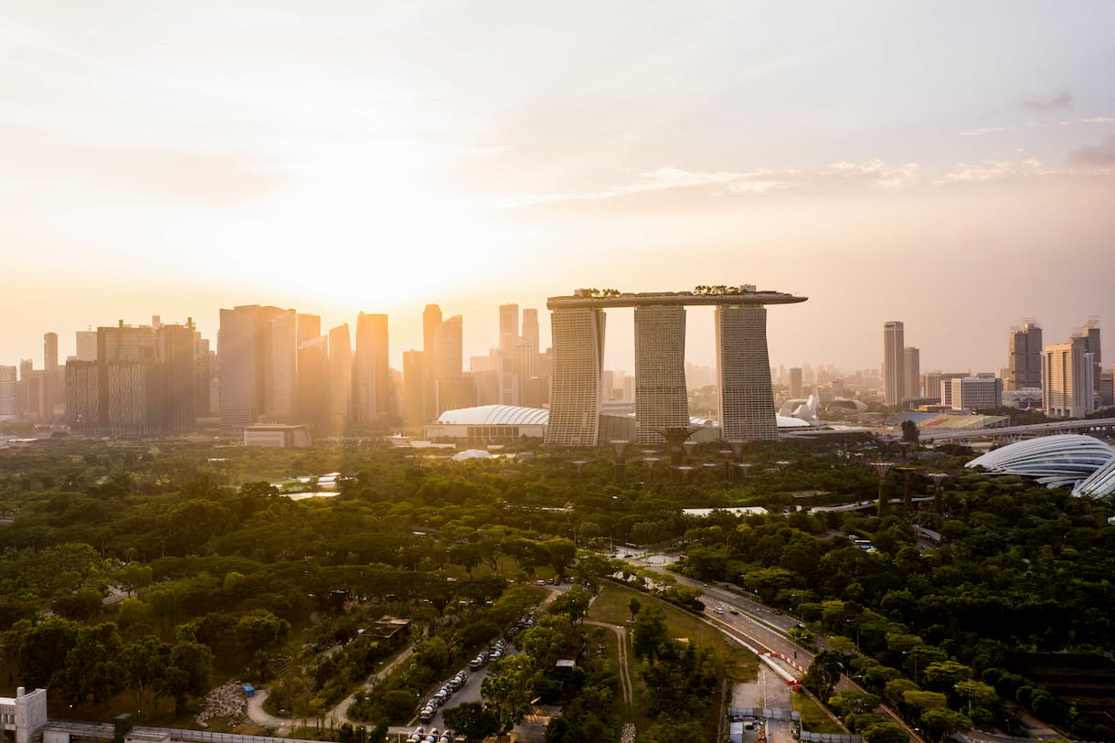 Skyline of Singapore with Marina Bay Sands in the front