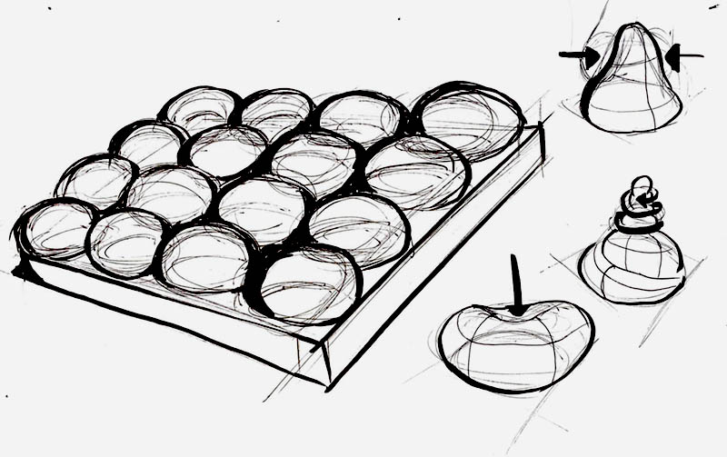 Sketch of a grid of squishy spheres which are twisted, squeezed and pressed to create sound
