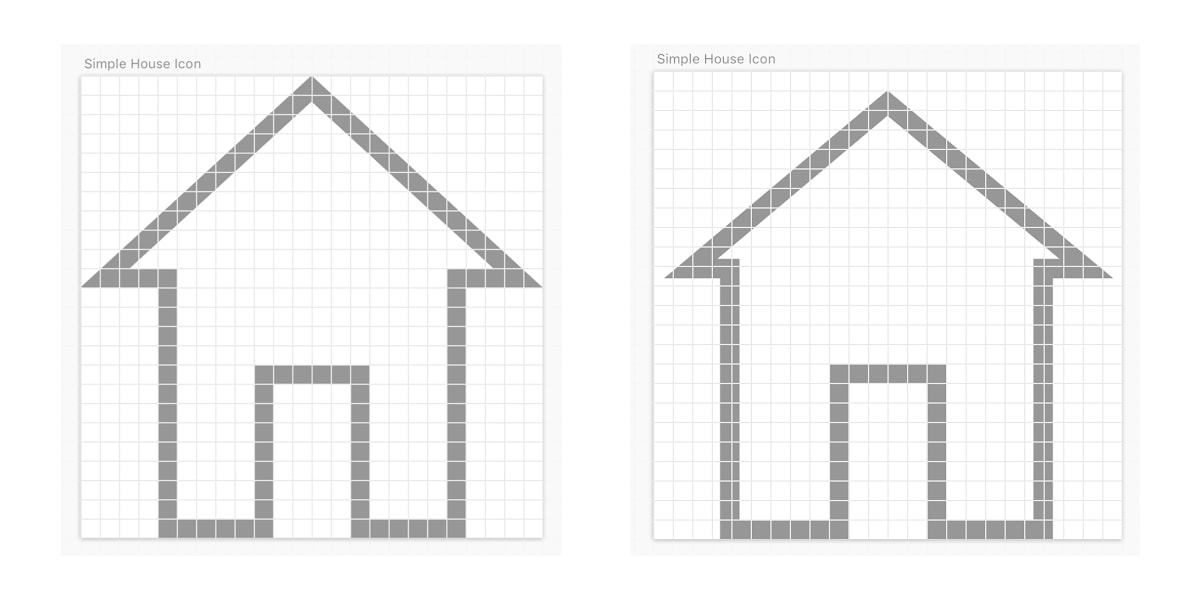 Two house icons drawn on a grid