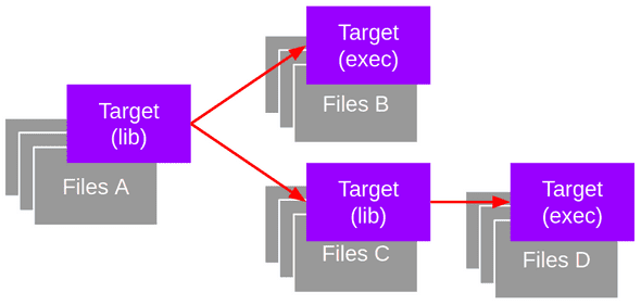 Targets can be libraries or executables. Dependencies are defined between targets. Files are attached to targets.