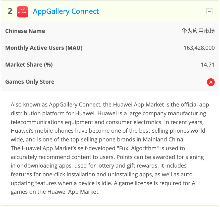 Sample entry from the AppInChina Game Store Index for Huawei AppGallery