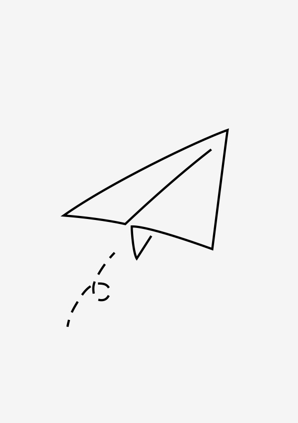 Paper plane drawing for contact section
