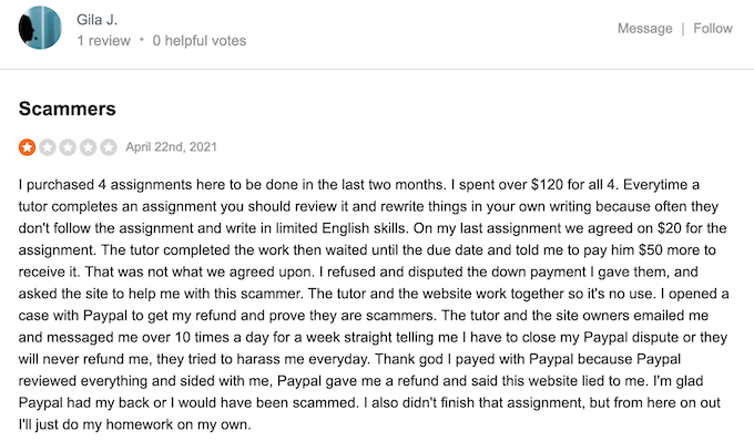 negative reviews about homeworkmarket.com on sitejabber.com