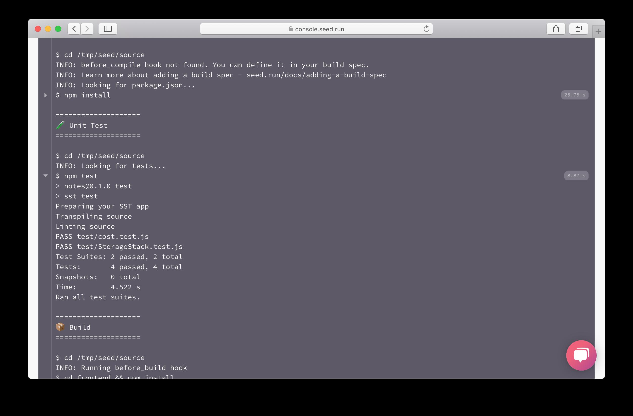 Prod build run tests