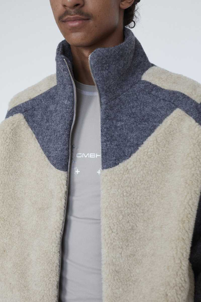 GMBH AW19 ERCAN FLEECE JACKET BEIGE GREY OPEN