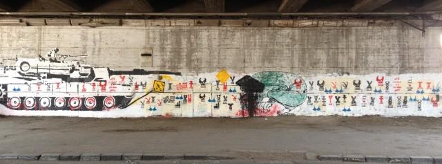 Figure 2: Stenciling on the Tank Wall. Photograph by Bahia Shehab (2012)