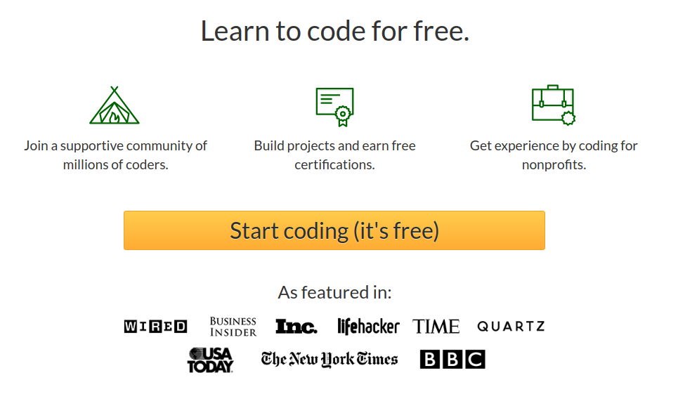 Home page do freeCodeCamp